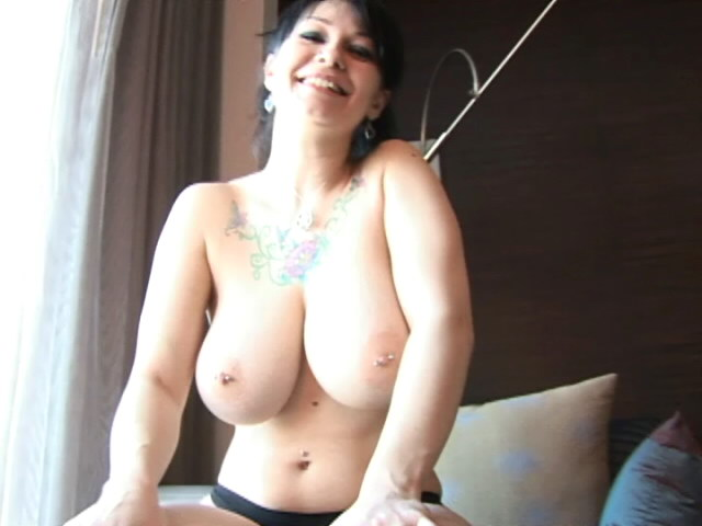 Sweet Dark-haired Teenager Jennique Flashing Her Humungous Globes