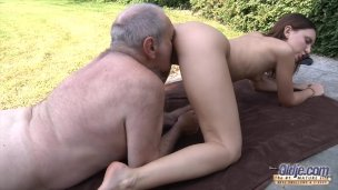 Grandfather Drills Youthful Honeypot So Taut And Moist Well-prepped For Spunk